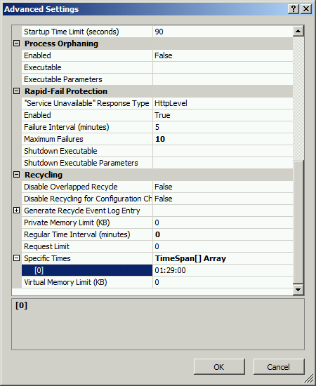 A screenshot showing the default specific times the application pool will recycle. In this case the application pool recycles at 1:29 AM.