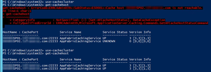 When ping is blocked to the other hosts, AppFabric doesn't know where the host is. Enable ICMP and now i sees it!